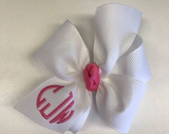 Any initials, White Hair bow, 4 Inch, Monogram bows, Girls Embroidered, Gift Ideas, Custom Boutique, Circle Font, Personalized Baby, Toddler