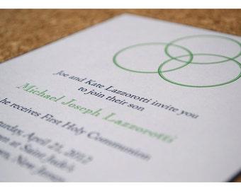 Communion Party Invitations Circle Trinity Design