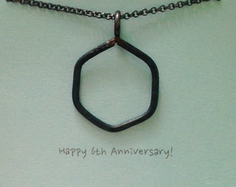 """1"""" Iron Hexagon Necklace 6th Anniversary Gift for Him Unisex Geometric Shape Necklace Hand Forged & Hammered Iron Jewelry - made to order"""