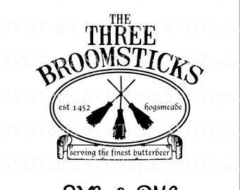 The Three Broomsticks Harry Potter Hogsmeade SVG and PNG Clip Art for Die Cut like Cricut and Silhouette Cuttable File