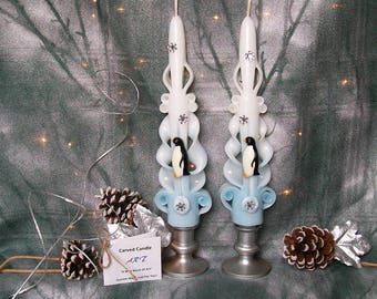 Penguin Candles, Hand Carved Tapers - , Unique Gift Idea, Mantle Decor, Winter Home Decor, Gift For Her