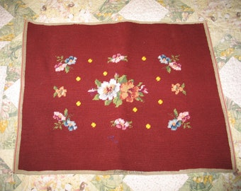 Beautiful Antique Needlepoint Tapestry / Needlepoint Canvas Completed /  Victorian Chair Cover / Pillow / ROSES