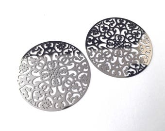 Great connectors rosette, floral filigree, stainless steel 34mm, the pair