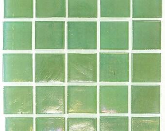 """Green Mist Iridescent Glass Tiles 9/16"""""""
