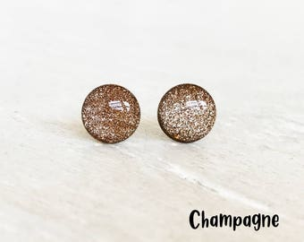 Dot earrings, Glitter earrings, Glitter studs,  Post earrings, Brown earrings, Everyday earrings, Minimalist jewelry, Ear Sugar