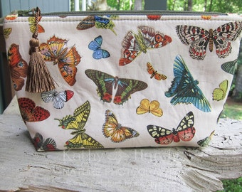 Zippered Pouch | Makeup Bag | Lined Bag | Cute Butterfly Fabric | Buttterfly Fabric Makeup Bag | Small Gift Under 20 | Camera Accessory Bag