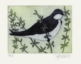 etching, swallow print, bird wall art, bird print, limited edition print, small art print, house martin art print, nature wall print