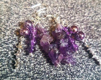 Purple cluster earrings with stars - amethyst and glass beads, gift for her