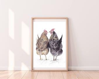 REDUCED Hens watercolour fine art print giclee print A3 chickens bird nature wall art wall decor home decor