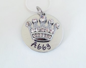 SALE ------- Custom Personalized Hand Stamped Name with Rhinestone Crown Necklace