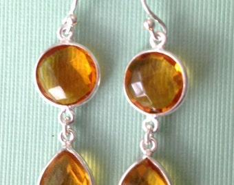 on sale Yellow Citrine faceted gemstone bezel dangle drop sterling silver earrings