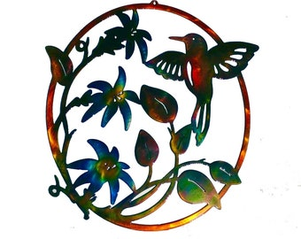 Hummingbird and Flowers Metal Wall Art W/ Patina Finish