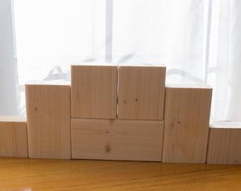 Unfinished Stacking Blocks, Unfinished Wood Blocks, DIY Craft Blocks, Plain, Unpainted, SET of 7 Wood Blocks, Shelf Sitter, SEASONS