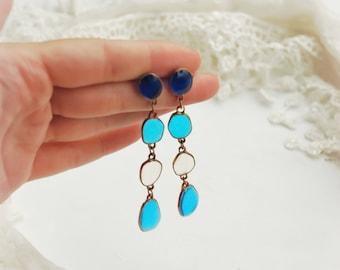 Blue earrings, Long earrings, Stud earrings, Blue studs, Wedding earrings, Christmas earrings, Winter earrings, Ice earrings, Snow earrings