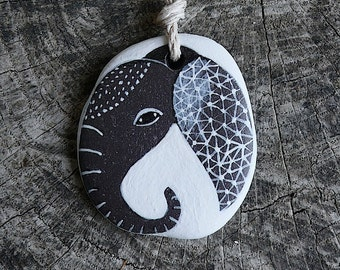 Beach Slate Ganesha Necklace - Elephant, Universe