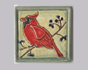 Northern Cardinal Arts and Crafts decorative handmade 4x4 MUD Pi ceramic tile