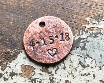 Wedding Date Penny Charm for Bride's Shoe, Custom Good Luck Penny, Marriage Date, Personalized Bridal Gift Idea