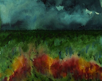 Watercolor Nature, Stormy Weather, Abstract, Expressive Watercolor Painting, Storm Clouds, Landscape Art, Contemporary, Wall Decor, Horizontal