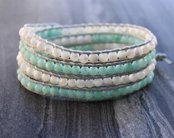 FACETED Aquamarine wrap bracelet, Chan luu style bracelet, Leather wrap bracelet, mother of pearl bracelet, multiple strands bracelet