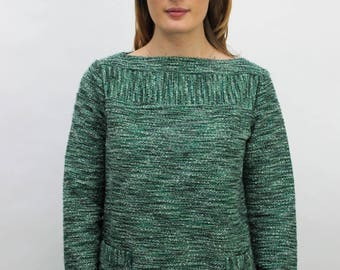 1960s Green Marl Jumper with Pockets Size UK 10, US 6, EU 38