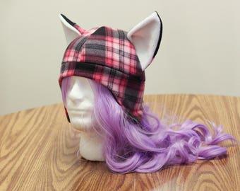 Plaid Pink and Black Fox Kitsune - Fleece Cosplay Hat