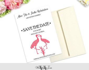 Save the Date Cards, Crane Wedding Announcements, Modern Save the Dates, Pink Birds Save the Dates