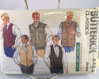 Vintage 1989 Butterick Classics Pattern Uncut 4484 Men's Vest in 4 Styles Size XS-S-M, Dressy and Hunting Styles