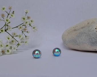 Fused glass earrings - Fused glass studs -Dichroic earrings - Dichroic studs - Dichroic glass studs - Fused glass studs