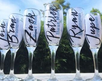 Groomsmen champagne glasses, personalized wedding party glasses, groomsmen gifts, personalized champagne glasses