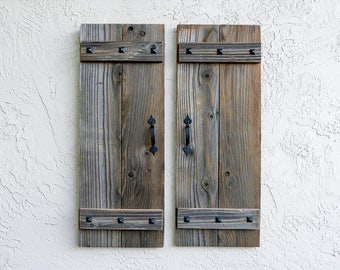 Rustic Shutters. Set of 2. Wooden Door Shutters. Rustic Barn Doors. Farmhouse Decor. Shutters Wall Decors.  Farmhoouse Shutters. L