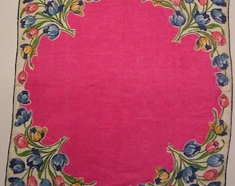 Vintage Pink Floral Hankie