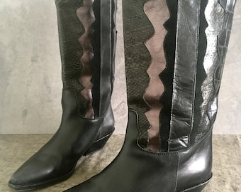 Vintage 80's Cowgirl Boots / Western Black Leather Silver Metallic Tall Boot / Faux Snakeskin Boot Made in Italy / Women's 6.5