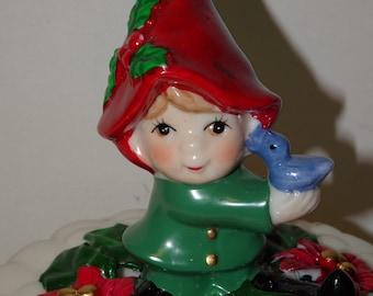 "Vintage Christmas Music Box, ""We Wish you a Merry Christmas"" Elf, Blue Bird, Christmas Pixie, Poinsettia Flowers, Gnome, Elf, Christmas Elf"