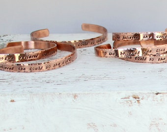 She Believed She Could So She Did, Copper, Bracelet, Cuff, Inspirational, Hand Stamped, Graduation Gift