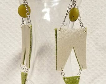 Geometric white vinyl and chartreuse earrings
