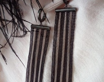 Long earrings, black and silver color strips