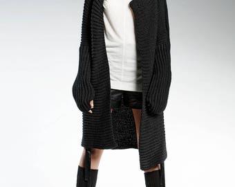 Loose Knit Cardigan, Black Cardigan, Winter Cardigan, Women Cardigan, Hand Knitted Cardigan, Warm Cardigan, Asymmetric Cardigan,Gift For Her