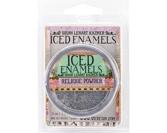 Iced Enamels relique powder, Silver Glitz, .25oz