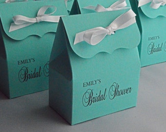 Bridal Shower Favor Bags in blue with white Ribbon
