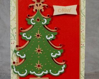 Carte de Noël à la main vacances arbre 2