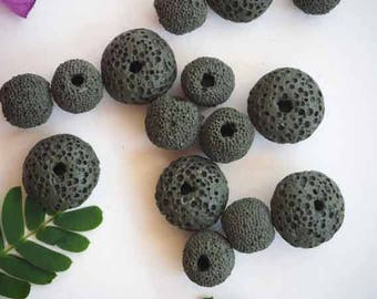 Lot 14 perfume lava so porous, dark grey pearls, 15-10mm