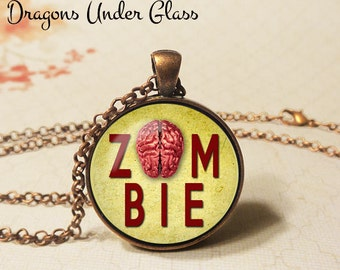 """Zombie Brain Necklace - 1-1/4"""" Circle Pendant or Key Ring - Wearable Photo Art Jewelry - Ghoul, Halloween Costume, Horror, Brains, Goth Gift"""