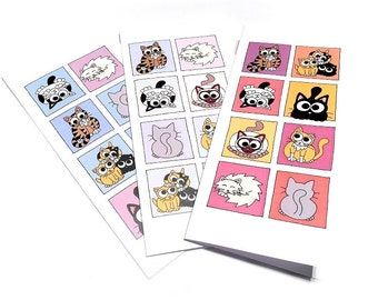 Set of 3 Cute Cat Cards (blank inside) - tall cards featuring boxes of cartoon cats, 1 in pinks, 1 in blues, 1 in pastels