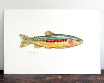 Golden Trout Original Watercolor, Fish Painting