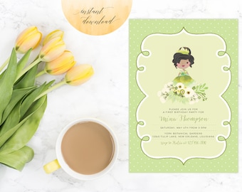 princess tiana invitation, tiana invitation, princess invitation, princess and frog invitation