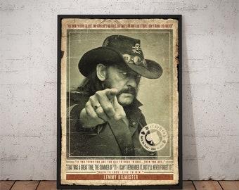 Lemmy Kilmister Motorhead Retro Vintage Art Deco Hard Rock Music Quote Print Poster