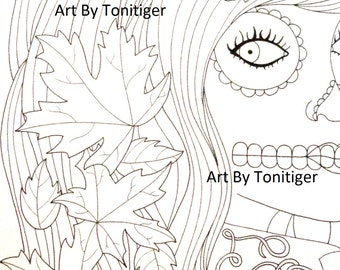 Sugar Skull Girl with Autumn Leaves, Instant Digital Download, Original Day of the Dead Art, Dia De Los Muertos, Adult Coloring Page