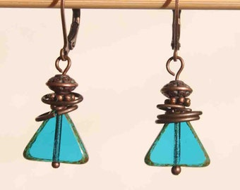 Capri Blue Earrings Dangle Earrings Drop Earrings Czech Glass Earrings Copper Earrings Small Earrings Gift for her Gift For women