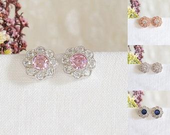 Bridal Earrings, Wedding Earrings, Stud Earrings, Flower Earrings, Pink, Blue Crystal Earrings, Bridal Wedding Jewelry, Bridesmaid, SOPHIE