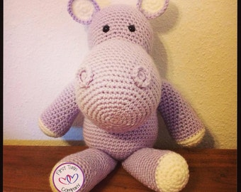 Hannah the Hippo Crochet Pattern, amigurumi stuffie toy crochet pattern, hippo animal, hippo toy, crochet pattern, amigurumi, hippo